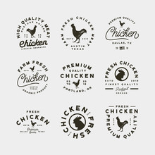 Set Of Premium Fresh Chicken Meat Labels. Vector Illustration