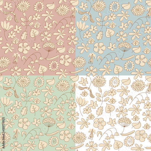 Poster Kunstmatig Seamless background made of beige wildflowers. 4 variants of background color. Objects grouped and named in English. no mesh, gradient, transparency used.