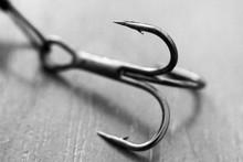 Fishing Hook On Wooden Background, Macro