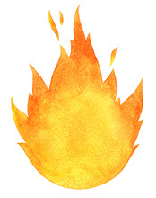 Watercolor Fire Background Isolated On White. Tongues Of Flame, Template For Text Or Lettering. Hand Drawn Yellow And Orange Aquarelle Burning Bonfire, Campfire Silhouette With Sparks.