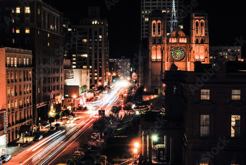Long exposure of California Street at night in San Francisco Canvas-taulu