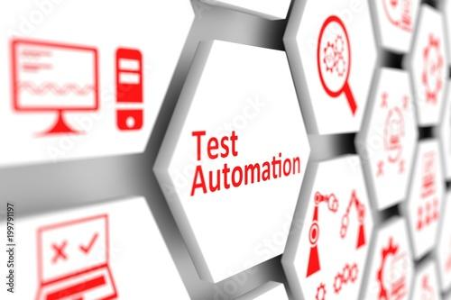 Fotografía  Test automation concept cell blurred background 3d illustration