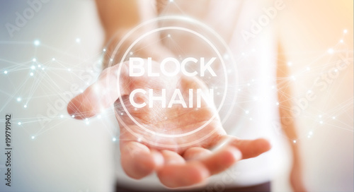 Poster Pharmacie Businessman using blockchain cryptocurrency interface 3D rendering
