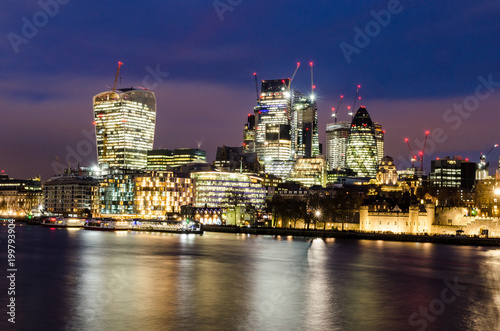 Long exposure of the City of London at night Canvas-taulu