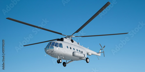 Foto op Canvas Helicopter 3d illustration of Mi helicopter 8. Layout. A light gray helicopter flies in the blue sky. Illustration for branding. 3d modeling and 3d rendering