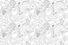 Vector Fruit Pattern. Fruit Se...