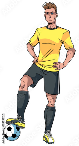 Full length illustration of a determined and skilled football player posing conf Tablou Canvas
