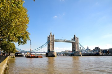Fototapeta na wymiar Tower Bridge in London, UK. Sunny day, blue sky.