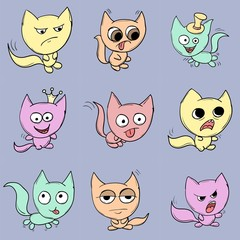 Funny cats. Suitable for childrens stories and fairy tales.