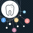 Tooth Icon with the background to the point and with infographic style.