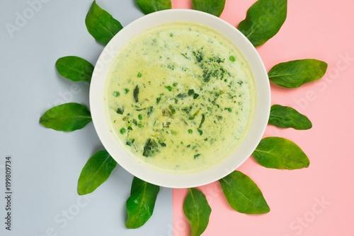 Deurstickers Klaar gerecht Creamy green soup from spring herb and vegetable with leaf circle.