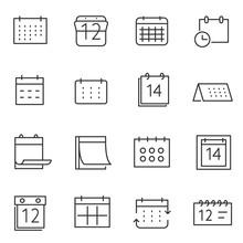 Calendar Icon Set, Thin Line D...