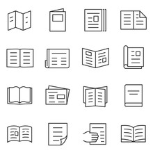 Printed Matter And Publication Icons Set. Linear Style. Line With Editable Stroke