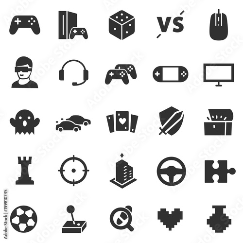 Video Games Monochrome Icon Set Game Genres And Attributes