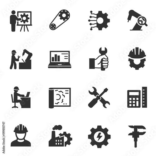Engineering Icons Set Monochrome Icons Set Engineer Simple