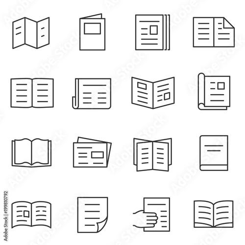 Fotografia, Obraz Printed matter and publication icons set