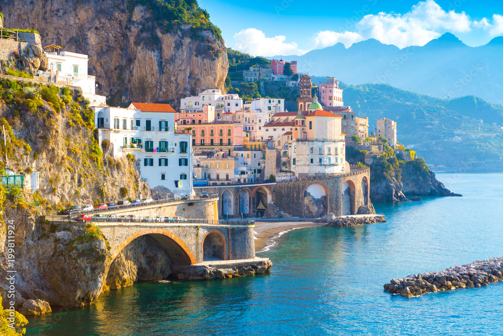Fototapeta Morning view of Amalfi cityscape on coast line of mediterranean sea, Italy