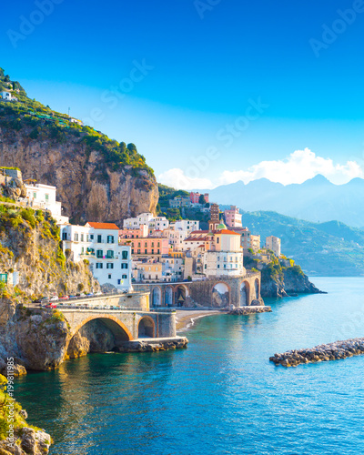 Fotobehang Blauw Morning view of Amalfi cityscape on coast line of mediterranean sea, Italy