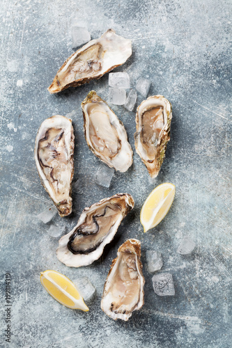 Papiers peints Jardin Fresh oysters on stone table