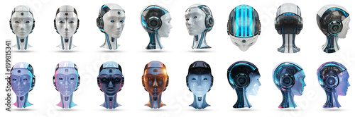 Cyborg head artificial intelligence pack 3D rendering Poster Mural XXL