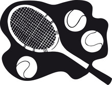 Tennis Racket With Tennis Ball...