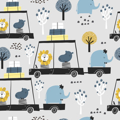 Fototapeta Do pokoju dziecka Seamless childish pattern with cute friends, lion, hippo, elephant in the car. Creative kids texture for fabric, wrapping, textile, wallpaper, apparel. Vector illustration