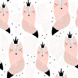 Wzór z ręcznie rysowane księżniczki lisy. Kreatywna skandynawska nowoczesna tekstura do tkanin, opakowań, tekstyliów, tapet, odzieży. Ilustracji wektorowych - 199818109