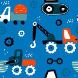 Bezszwowy dziecinny wzór z ręka rysującymi samochodami. Twórcza tekstura dzieci na tkaniny, opakowania, tekstylia, tapety, odzież. Ilustracji wektorowych - 199818186