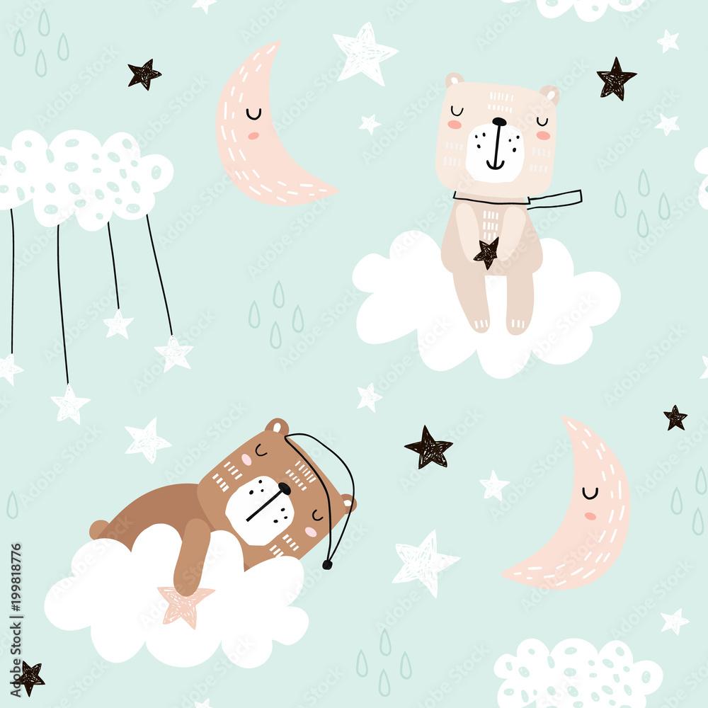 Bezszwowy dziecięcy wzór z ślicznymi niedźwiedziami na chmurach, księżyc, gwiazdy. Kreatywnych dzieci w stylu skandynawskim tekstur dla tkaniny, opakowania, tkaniny, tapety, ubrania. Ilustracji wektorowych