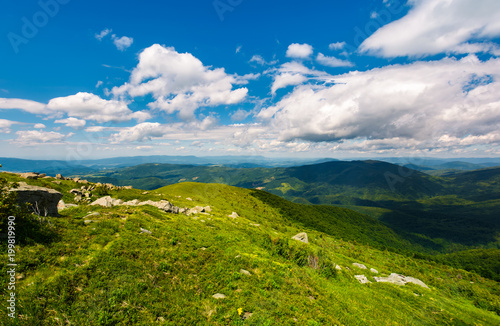 Tuinposter Bleke violet grassy slope of the mountain on a cloudy day. beautiful summer landscape of Carpathian mountains
