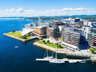 Aker Brygge aerial view, Oslo