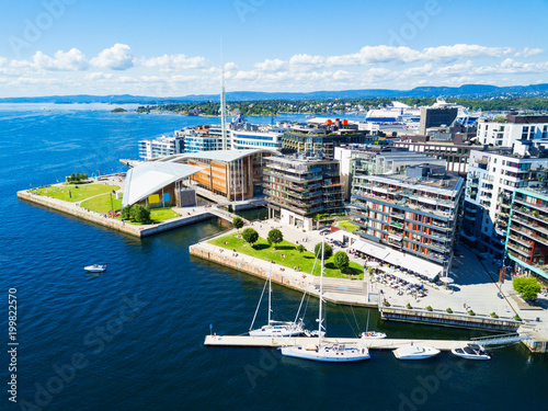 Photo Aker Brygge aerial view, Oslo