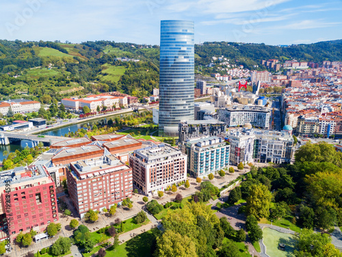 Tuinposter Barcelona Bilbao aerial panoramic view, Spain