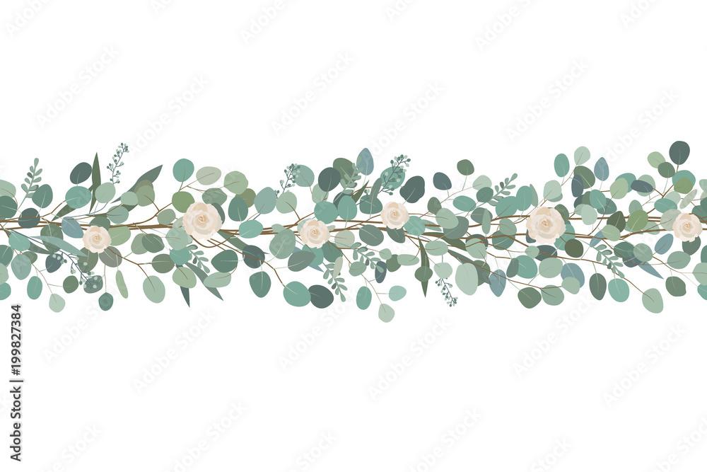 Fototapeta Elegant seamless border from roses and eucalyptus branches. Floral garland. Vector illustration.