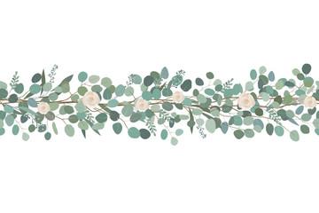 Elegancka bezszwowa granica od róż i eukaliptusowych gałąź. Girlanda z kwiatów. Ilustracji wektorowych.