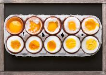 Eggs In Varying Degrees Of Ava...