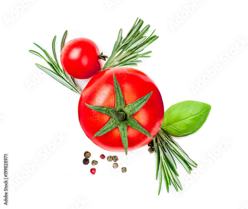 Papiers peints Jardin Fresh Red Tomato with spices and herbs isolated on white background, close up. Food Ingredients top view.