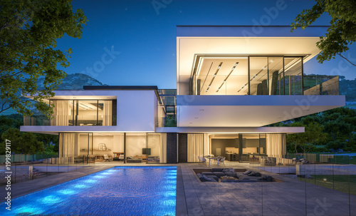Fotomural  3d rendering of modern house by the river at night