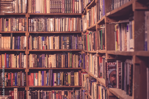 Photo Stands Library Vintage bookshelves texture in the bookshop
