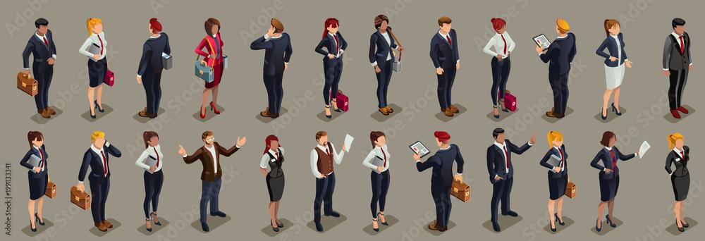 Fototapeta Businessmen illustrated people isometric