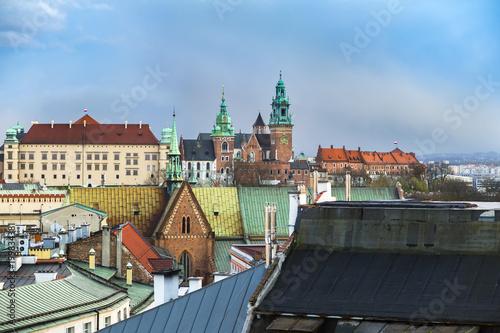 Stickers pour porte Pierre, Sable Wawel Castle on top of a hill