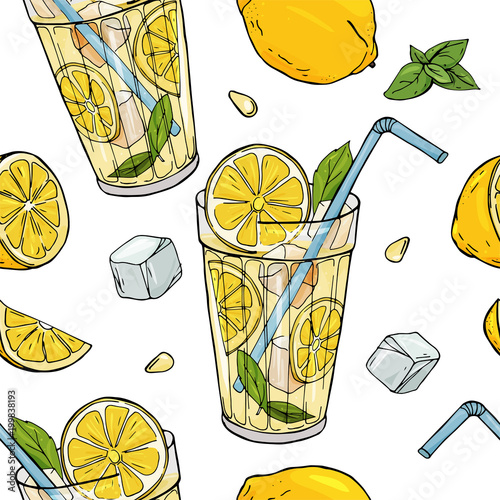 Seamless pattern with lemonade and lemons  Cocktail in a