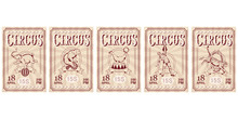 Set Of Circus Ticket. Carnival...