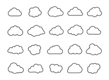 Clouds Line Art Icon Collection. Storage Solution Element, Networking, Cloud And Meteorology Concept. Vector Illustration Isolated On White Background.