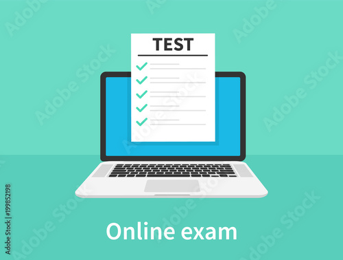 Fotografía  Online exam, laptop with checklist, taking test, choosing answer, questionnaire form, education concept
