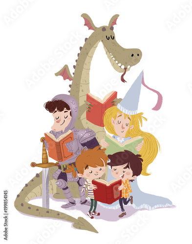 dragon,princesa,caballero con niños leyendo