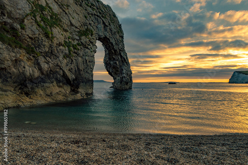 Picture of fantastic sunset in durdle door England Poster