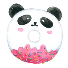 Watercolor Panda Donut On Whit...