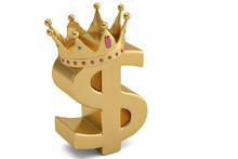 Golden Dollar Sign And Crown On White Background. 3D Illustration.