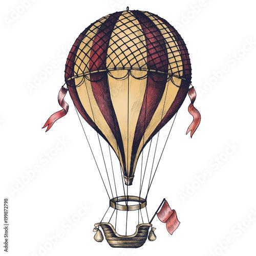 Fotografie, Obraz  Hot air balloon vintage style illustration